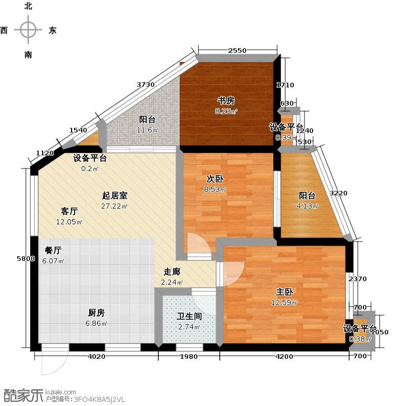 漓江蓝湾84.04㎡8#B5户型2室2厅1卫
