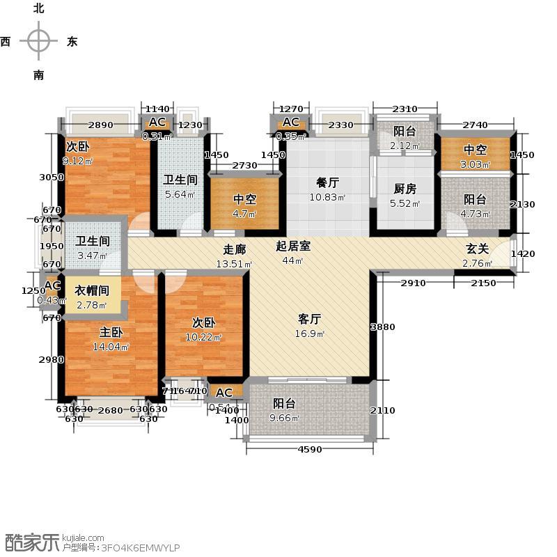 中熙香缤山3栋01-02型户型3室2卫1厨