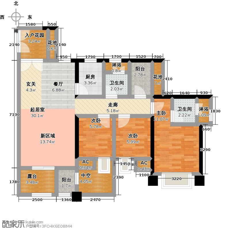润恒尚园7栋A座D-T户型3室2卫1厨