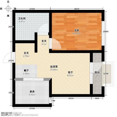 大连玉龙湾1室0厅1卫1厨53.00㎡户型图