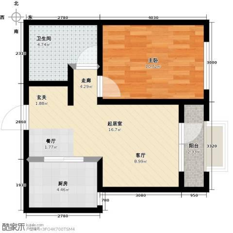 大连玉龙湾1室0厅1卫1厨57.00㎡户型图