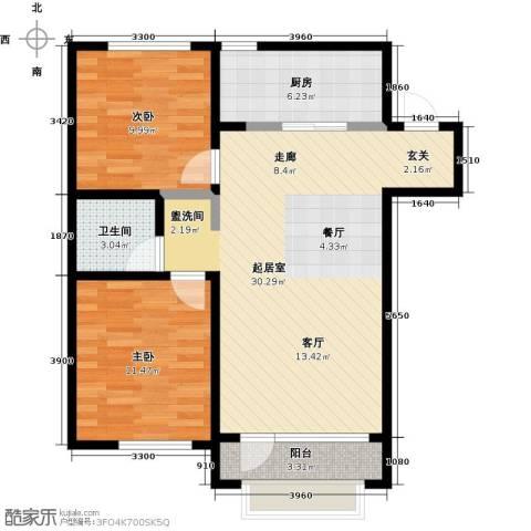 大连玉龙湾2室0厅1卫1厨91.00㎡户型图
