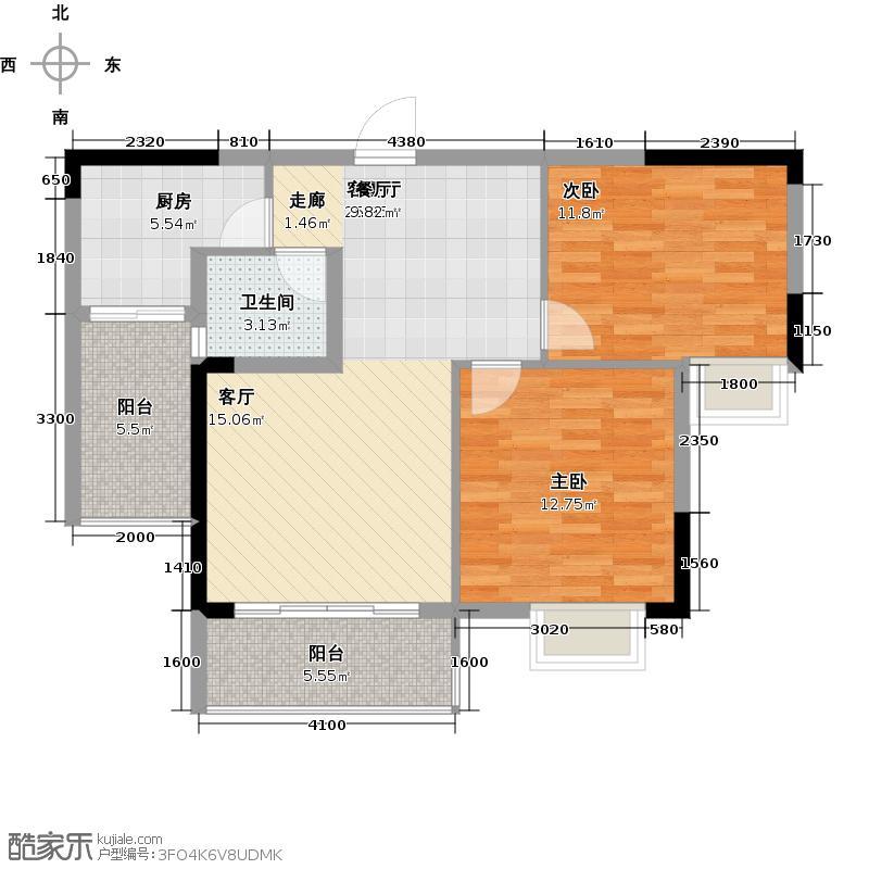 金源新城福邸嘉园88.74㎡28栋2单元02号房户型2室2厅1卫