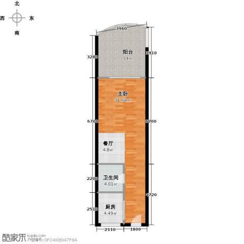 东方・龙湾1室0厅1卫1厨63.00㎡户型图