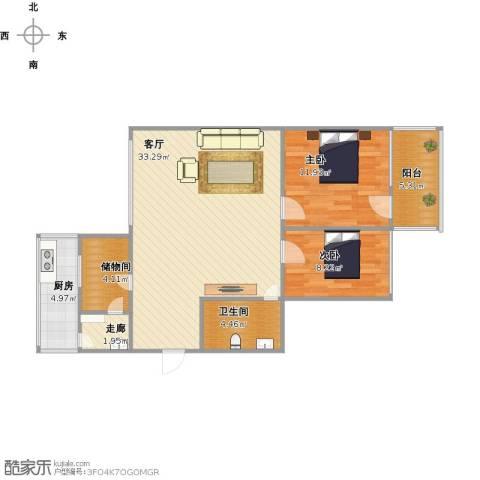 丁家小区2室1厅1卫1厨100.00㎡户型图