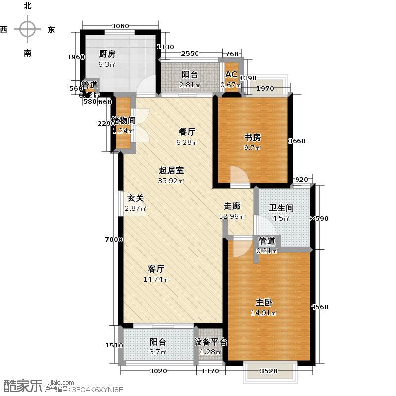 御上海荣御景苑二房二厅一卫面积约93平方米户型LL