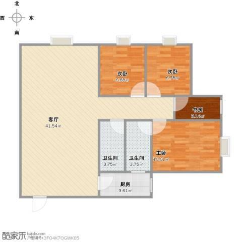 亚太商谷4室1厅2卫1厨108.00㎡户型图