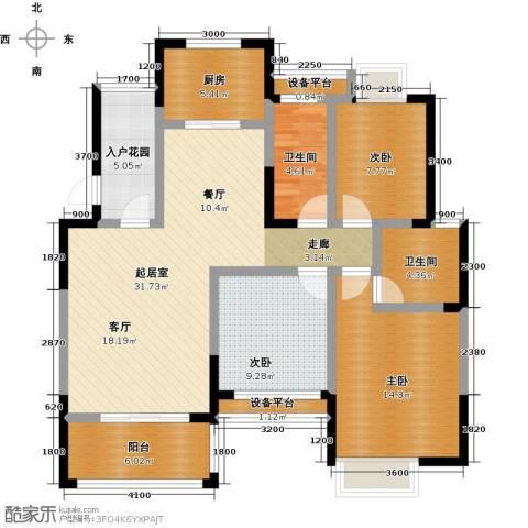 丰源国际御�台3室0厅2卫1厨121.00㎡户型图