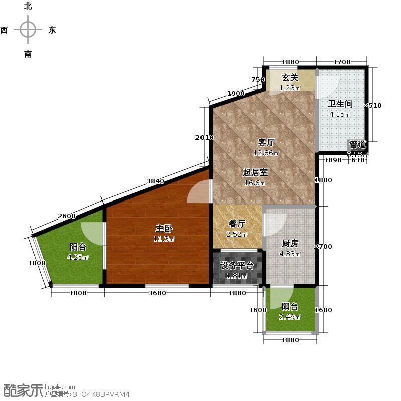 明天第一城65.41㎡四期B_5a户型一室一厅一卫户型