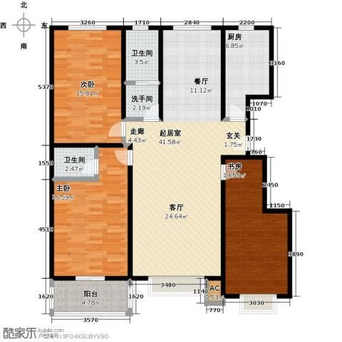 石家庄朱雀门3室0厅2卫1厨122.00㎡户型图