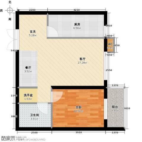 映天朗(五号公馆)1室1厅1卫1厨66.00㎡户型图