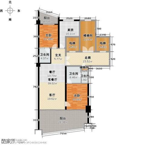 三亚海韵度假酒店2室1厅3卫1厨157.65㎡户型图