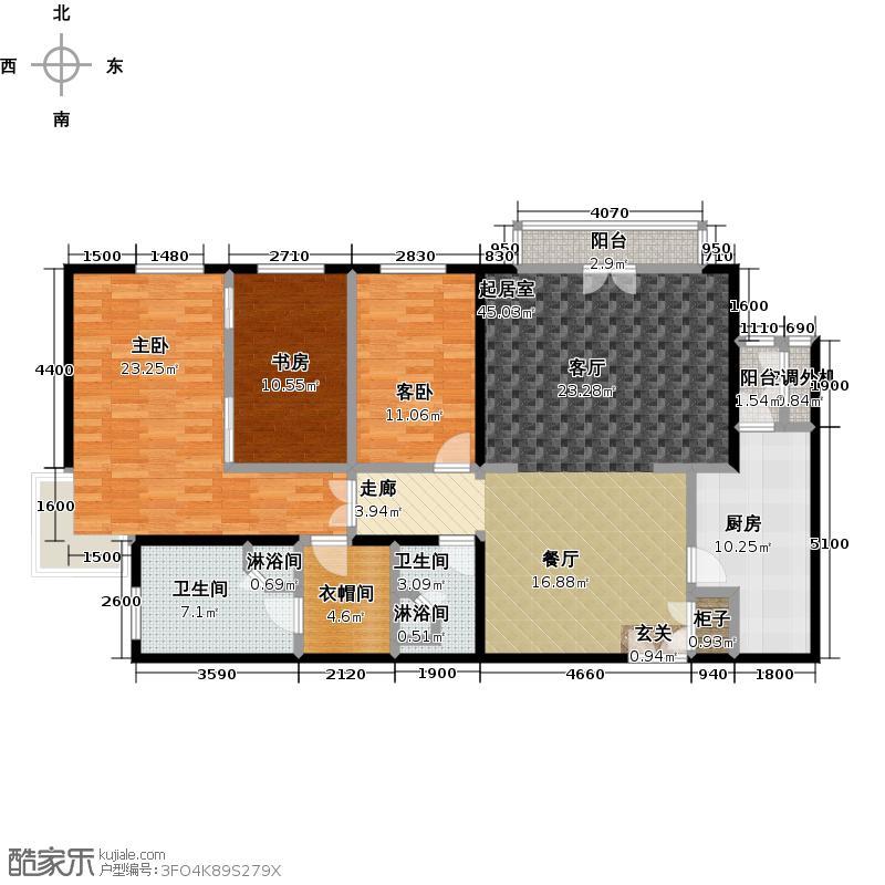 荣尊堡国际俱乐部公寓170.00㎡F座F二室二厅二卫户型