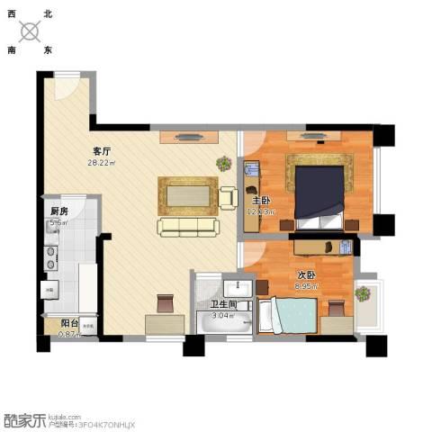 首创光和城2室1厅1卫1厨82.00㎡户型图