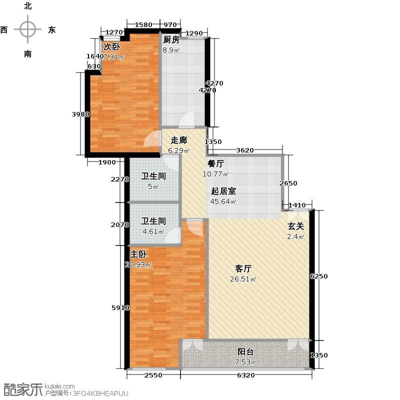 华贸中心150.82㎡f01二室二厅二卫户型