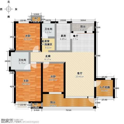 哈工大・慧海湾3室0厅2卫1厨166.00㎡户型图
