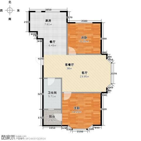悦泰山里三期2室1厅1卫0厨96.00㎡户型图