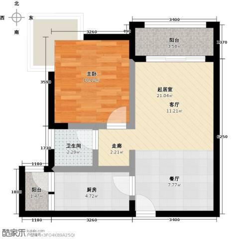 中华坊1室0厅1卫1厨49.00㎡户型图