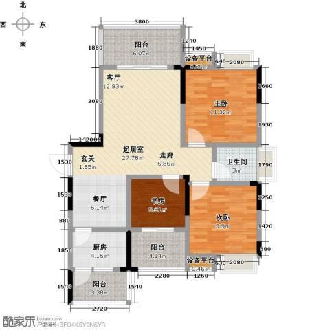 香木林领馆尚城3室0厅1卫1厨110.00㎡户型图
