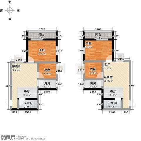 世贸大厦二期4室0厅2卫2厨89.00㎡户型图