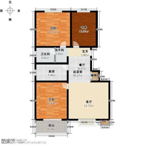 石家庄朱雀门3室0厅1卫1厨110.00㎡户型图