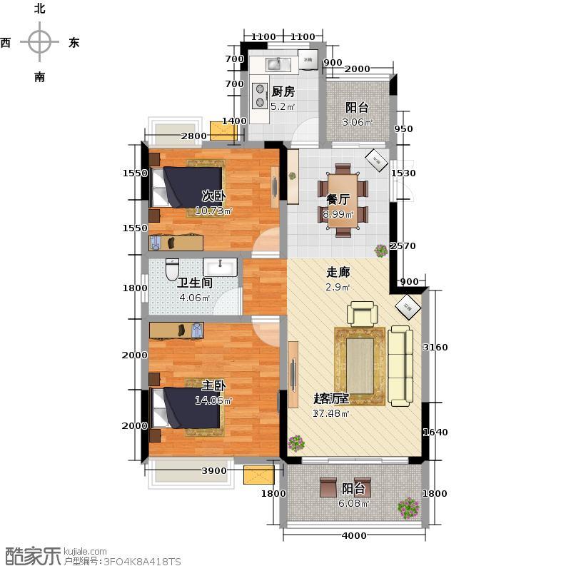桂林国奥城A1户型2室1卫1厨