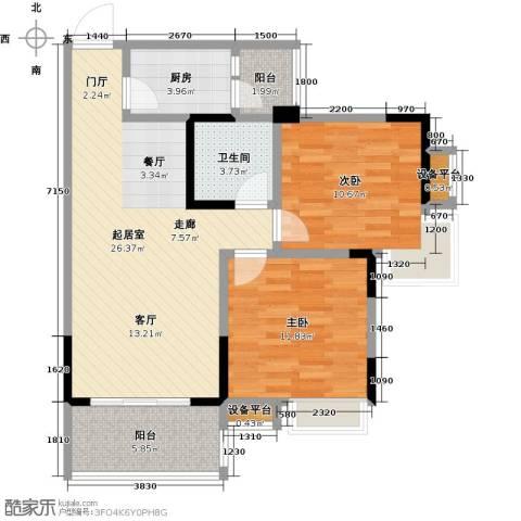 香木林领馆尚城2室0厅1卫1厨94.00㎡户型图
