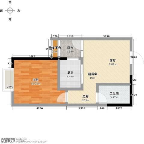 布鲁明顿广场1室0厅1卫1厨54.00㎡户型图