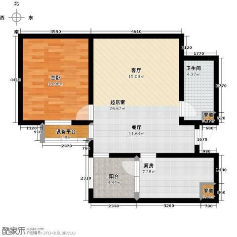 东龙府邸1室0厅1卫1厨68.00㎡户型图