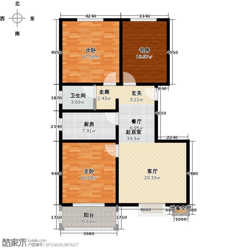 石家庄朱雀门109.23㎡4号楼b户型 三室两厅一卫户型3室2厅1卫