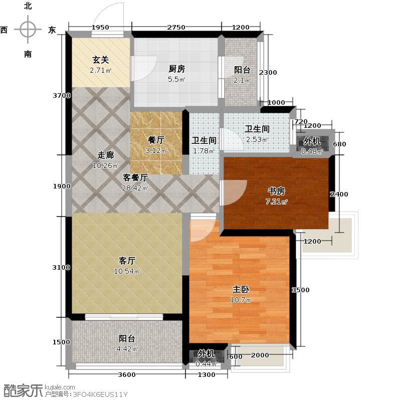 阳光100国际新城87.00㎡两室两厅一卫户型2室2厅1卫