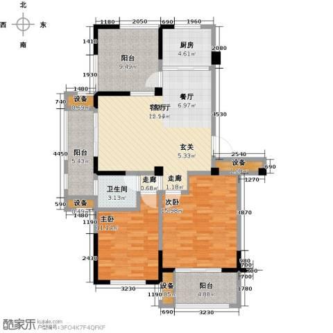 亿嘉・江南水岸2室1厅1卫1厨121.00㎡户型图