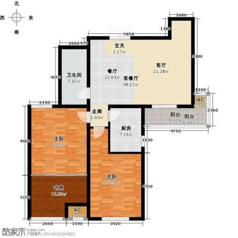 证大多伦多花园3室1厅1卫1厨153.00㎡户型图