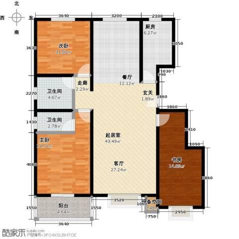 石家庄朱雀门3室0厅2卫1厨116.00㎡户型图