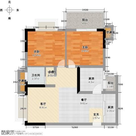 天龙广场(三期)2室1厅1卫2厨64.00㎡户型图