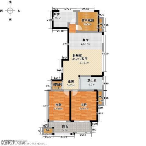 创业紫金城2室0厅1卫1厨120.00㎡户型图