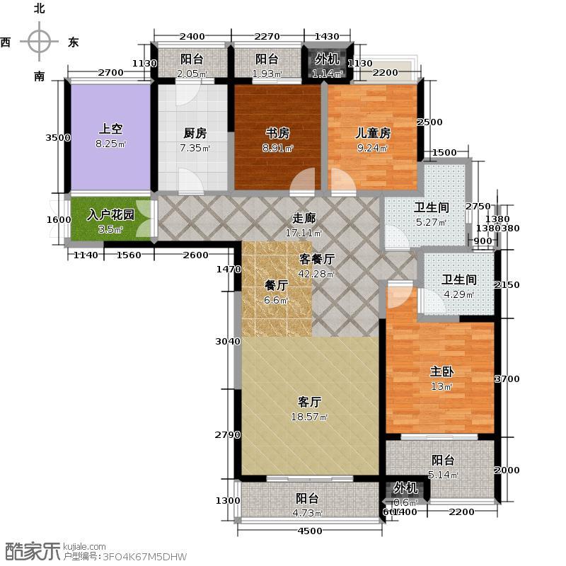 阳光100国际新城86.00㎡阳光100五期户型 三室两厅两卫户型3室2厅2卫