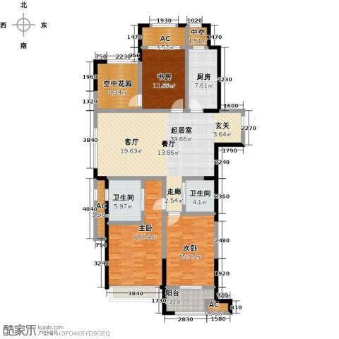 创业紫金城3室0厅2卫1厨140.00㎡户型图