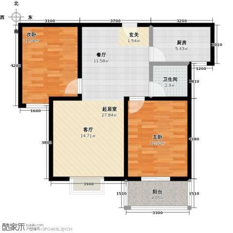 西原泓郡2室0厅1卫1厨86.00㎡户型图