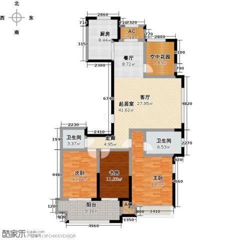 创业紫金城3室0厅2卫1厨154.00㎡户型图