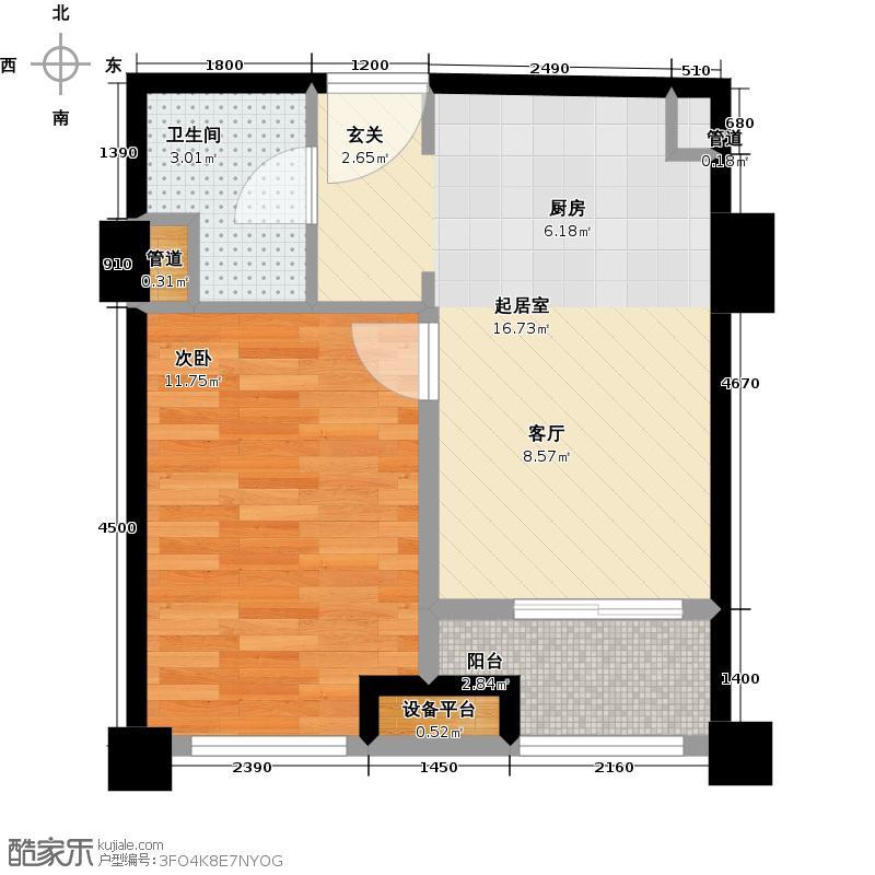 中建木莲工社52.00㎡52平米一室一厅一卫户型1室1厅1卫