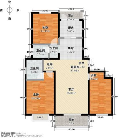 西原泓郡3室0厅2卫1厨136.00㎡户型图