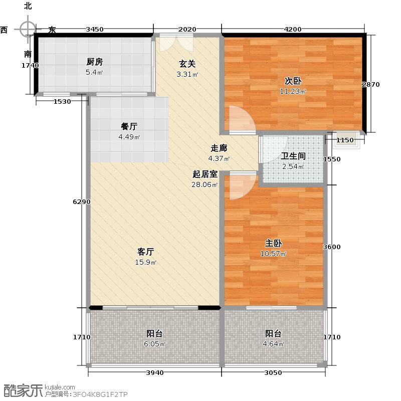 桂林人民大厦84.56㎡2栋F2户型2室2厅1卫