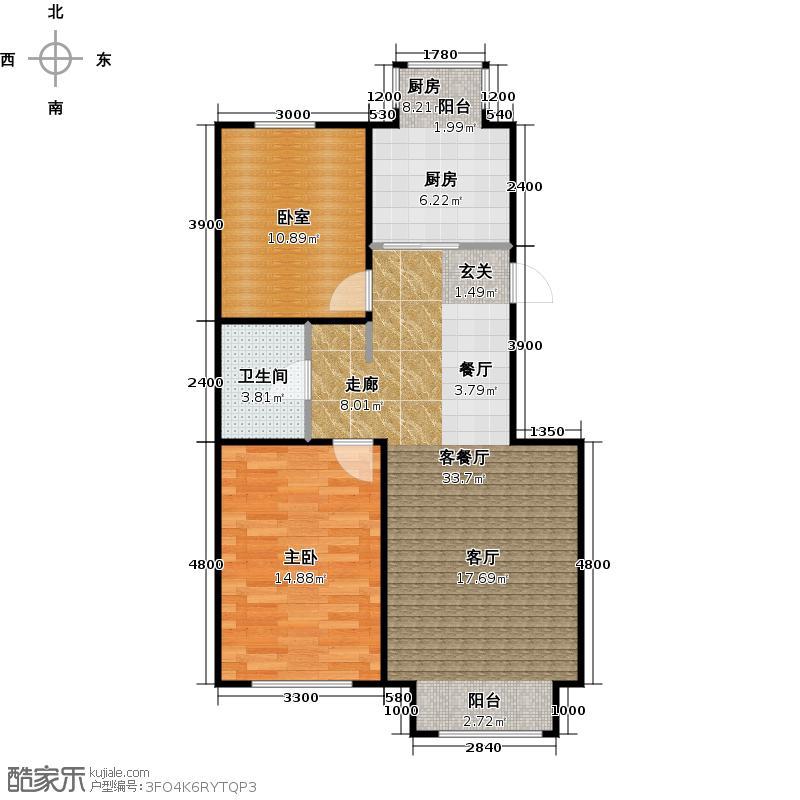 共成玫瑰园4#楼J二单元二室建筑面积约9316/户型1室1厅1卫1厨