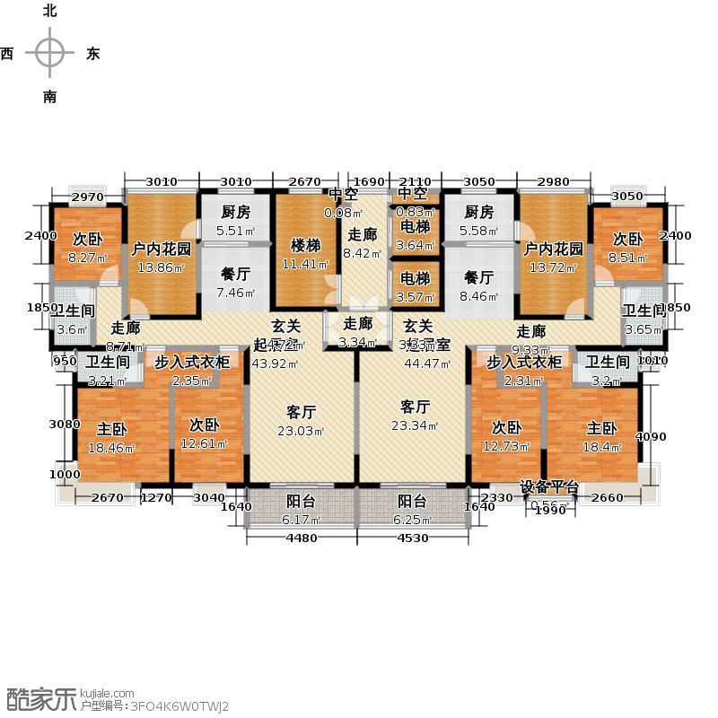 第三城丹槿园A-B建筑面积约140.27㎡-套内面积约121.43㎡户型