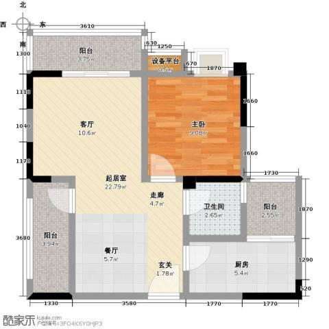 香木林领馆尚城1室0厅1卫1厨74.00㎡户型图