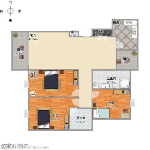 新都华城3室1厅2卫1厨163.00㎡户型图