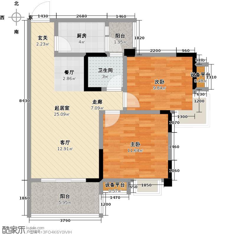 香木林领馆尚城2011年-B4--户型2室1卫1厨