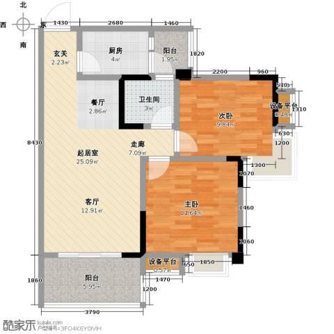 香木林领馆尚城2室0厅1卫1厨90.00㎡户型图
