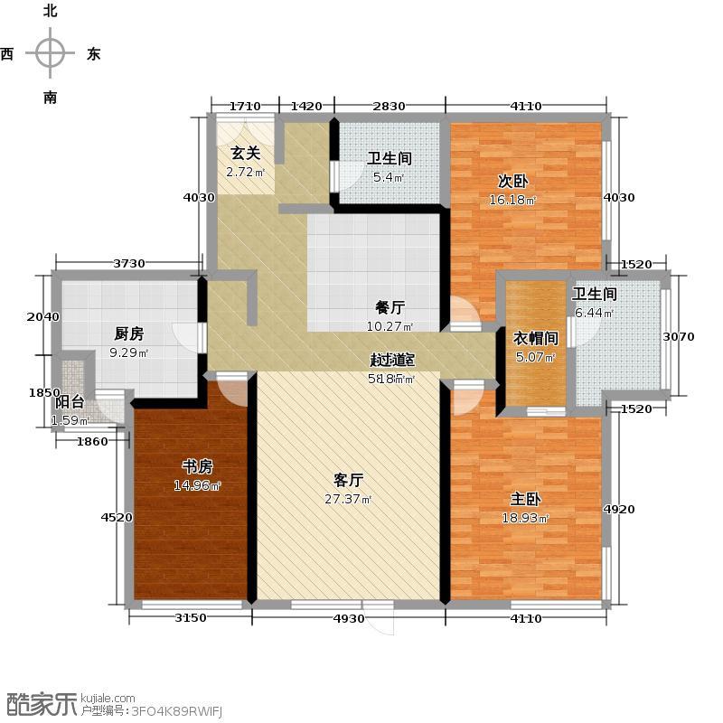 国兴・观湖国际155.00㎡B2月光三室二厅二卫户型